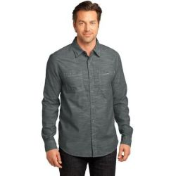 District Made™ - Mens Long Sleeve Washed Woven Shirt. DM3800