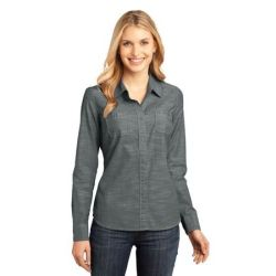 District Made™ - Ladies Long Sleeve Washed Woven Shirt. DM4800