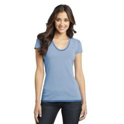 District ®  - Juniors Faded Rounded Deep V-Neck Tee. DT2202